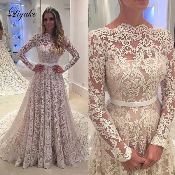 O-pescoço A linha de vestido de noiva Applique manga comprida Backless vestido de noiva tribunal Train Lace vestido de noiva Plus Size Liyuke