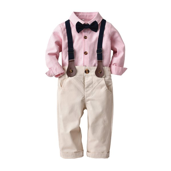 Spring and autumn children suit children european-american style long sleeve striped shirt bow-tie trousers gentleman suit three pieces