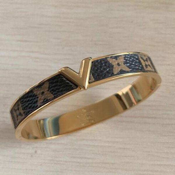 Echtes Leder 3 Farben Titan Stahl Armbänder Vergoldet V Stempel Mit Orignial Logo Liebe Armreifen Freies Verschiffen