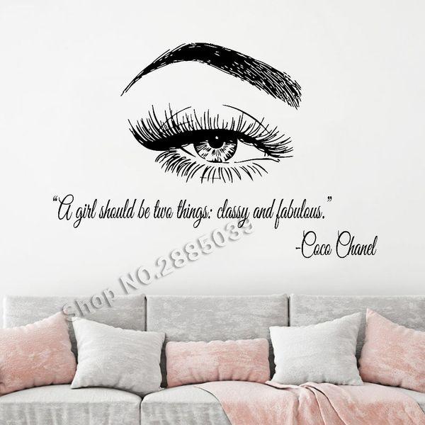 Maquillaje cotizaciones pegatinas de pared hermoso ojo pestañas pestañas extensiones cejas salón de belleza cejas vinilo tatuajes de pared decoración