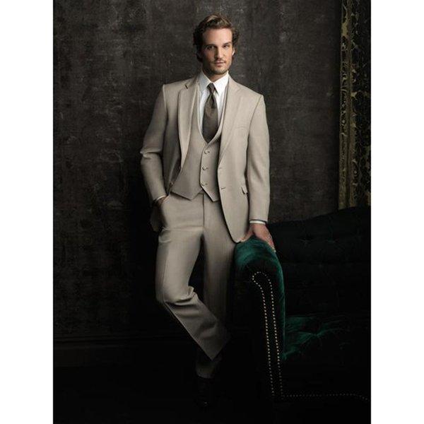 New Fashion Groom Beige men suit set Tuxedos Men's Wear Wedding Party Groomsman Suits terno 2017 ( jacket+Pant+vest+tie)