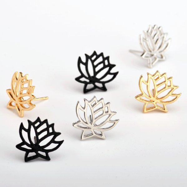 Fashion Women Earring Charm Jewelry Accessory Alloy Lotus Hollow Earring Stylish Ear Stud For Gift Woman Party Decoration