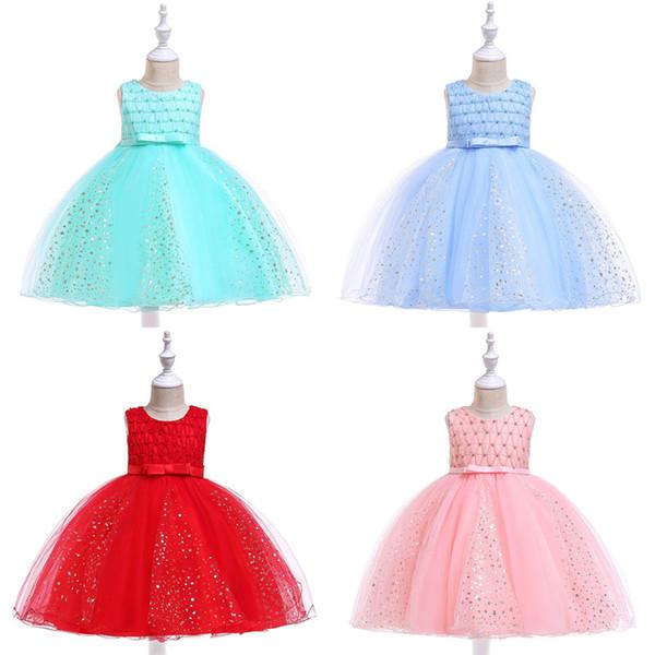 Baby Girl Dress Hot Stamping étoiles Gaze Bow Princesse Robes Robe enfants bébé fille Vêtements de créateurs pour bébés filles Robes 07 perles