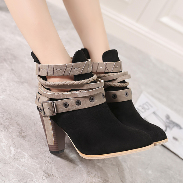 Newest autumn and winter lady martin boots women's large size belt buckle strappy fashion chunky high-heeled ankle boots women shoes