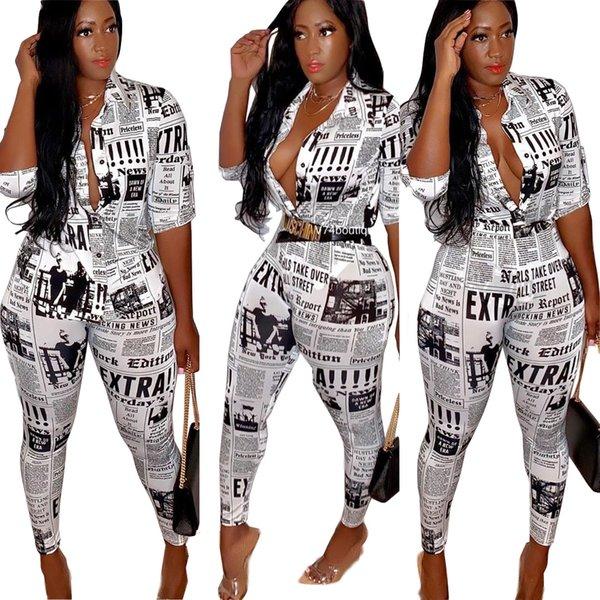 Novità Moda Giornale Stampato Camicia e pantaloni da donna Set Mezze maniche Top Sexy Lady Party Streetwear Due pezzi Abiti 2019 Autunno