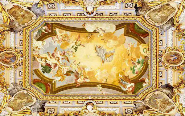 top popular Custom buyer size European luxury classical three-dimensional roof of the ceiling art mural 3d wallpaper 3d wall papers for tv backdrop 2021
