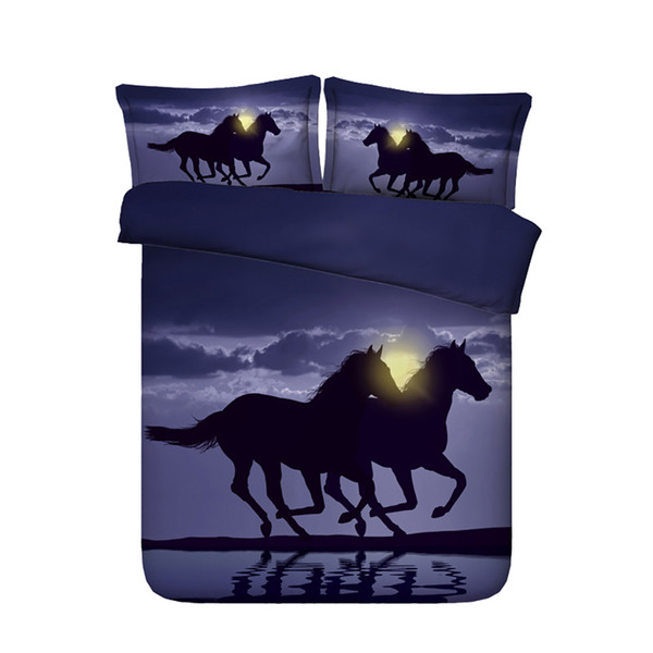 3 Piece Pyramid Bedding Set With 2 Pillow Shams Watercolor Bedspread Quilt Cover Moon Comforter Cover 3D Duvet Cover Set Running Horses