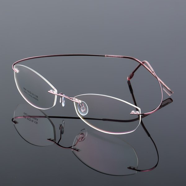 2019 Rimless Glasses Frame Titanium Alloy Ultralight Eyeglasses Frameless  Cat Eye Screwless Eyewear Myopia Optical Memory Frames J866 From Mudiaolan,