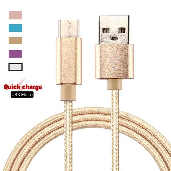 Metallgeflochtenes Micro-USB-Kabel V8 Typ C USB-Daten-Synchronisierungs-USB-Ladekabel Für Smart Phone 2A-Schnellladekabel