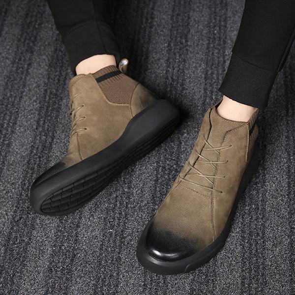 Souple Chaussures Hommes Haute 2019 Pu Imperméable En Qualité Neige Chaussures Acheter Chaud Automne Hommes Bottes Cuir D'hiver De Bottes Super rxoCdBWeQ