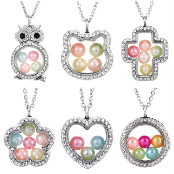 best selling Hot crystal Pearl Cage Pendant necklaces For women Silver Living Memory Beads Glass Magnetic open Floating Lockets Chains Fashion Jewelry