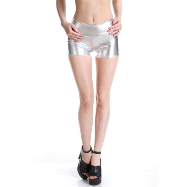 VISNXGI Womens Mid Waisted PU Sexy Summer Shorts Metallic Rave Dance Shorts Spandex Shiny Pole Dance Gold Silver Short For Stage #407730
