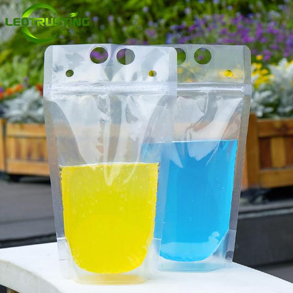 Leotrusting 500pcs/lot 200ml~1000ml Clear Plastic Portable Party Beverage Bag Fruit Juice Milk Wine Beer Ziplock Bag Bar/KTV Drinking Pouch