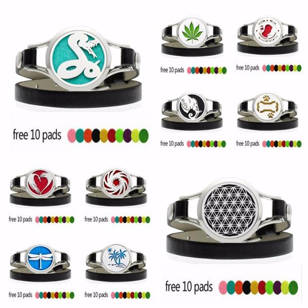 30mm Watch Diffuser Locket Wrap Bracelet PU Leather Stainless Steel Perfume Locket Men Women Jewelry 10pcs Pads