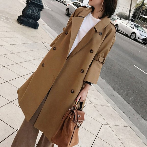 2019 Spring Autumn New Fashion Woman Classic Double Breasted Trench Coat Waterproof Raincoat Business Oversized 5XL Outerwear