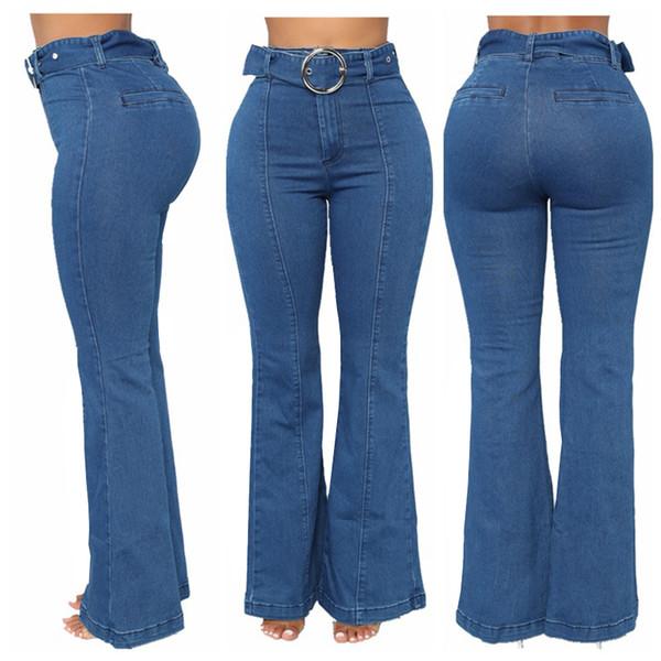 Kenancy Mavi Kadınlar Flare Jeans Skinny Kemerler Cepler Yüksek Bel Kot Pantolon Artı Boyutu Streç Denim Kalem Pantolon Rahat Zip Kot