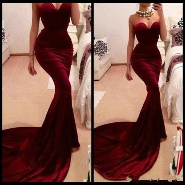 Vestidos De Formatura Free Shipping Mermaid Sweetheart Red Wine Long Burgundy Prom Dresses Evening Gowns Long Fitted Velvet