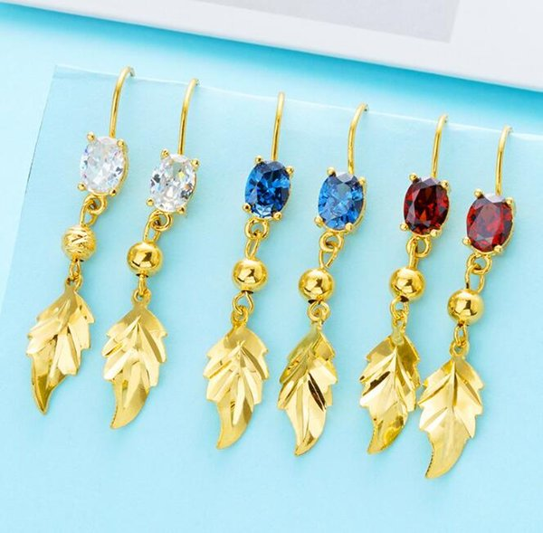 2018 Brass In Gold Leaf Dangle Cubic Zirconia Earrings Wedding Bridal Ladies Jewelry with Pink, Blue,White,Red Cz Diamond