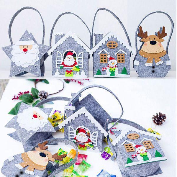 Noel Çerez Şeker Çanta Çocuk Hediye Noel Çanta Noel Baba Hediye Tutucu Tedavi Çanta Noel Kardan Adam Elk Yeni Yıl Süslemeleri
