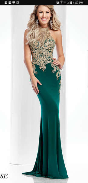 Prom Dresses Sexy hot-selling heart-shaped collar elastic spandex gold lace decals hollow back zipper fish tail buttocks customized package