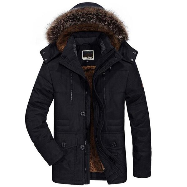 Winter Jacket Men Fur Collar Thicken Casual Cotton Jackets Windbreaker Plus Velvet Parkas Size 6XL Mens Winter Long Overcoat