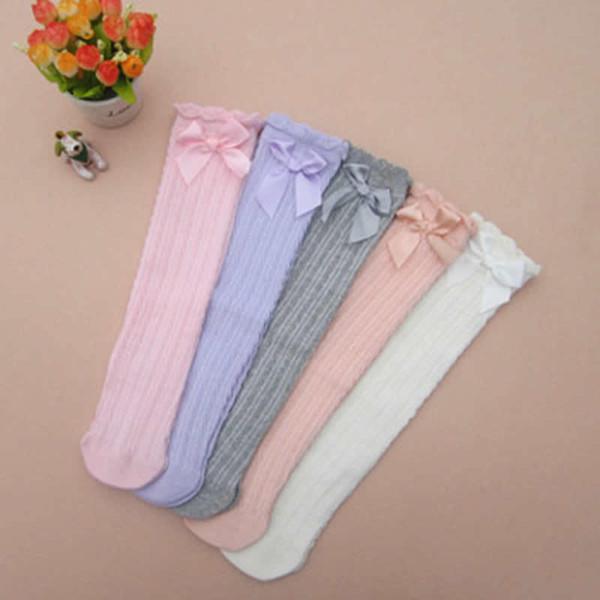 Girls Leg Warmers Cotton Korean Cute Lace Bow Knee High Baby Girl Princess Leggings Girls Dance Stocking Children Cloth