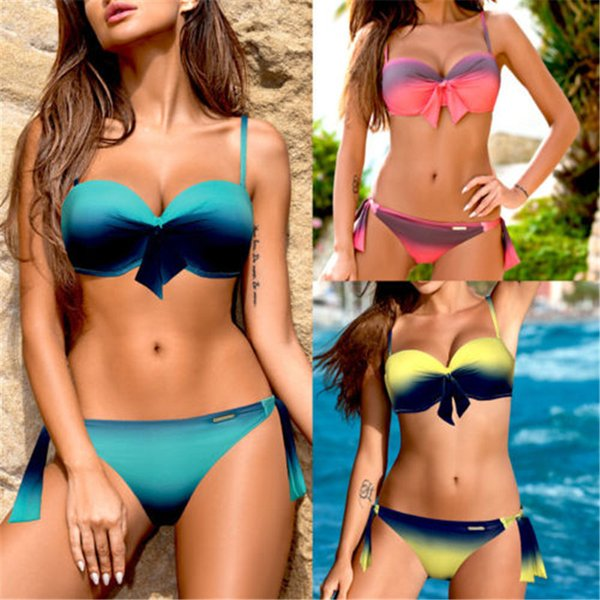 Bikini 2019 Neue Sexy Push Up Bademode Frauen Badeanzug Bandeau Farbverlauf Rot Rosa Gelb Brasilianischer Bikini Set Badeanzüge