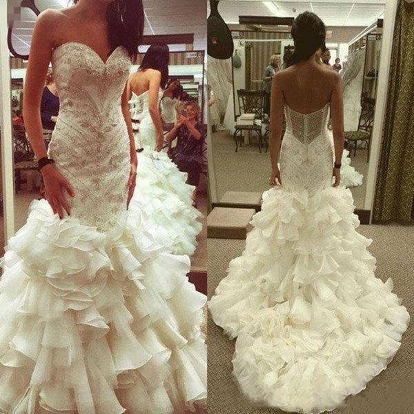 2019 Unique Organza Cascading Ruffles Bodycon Mermaid Wedding Dresses Bling Beaded Sweetheart Corset Fishtail Bridal Wedding Gowns