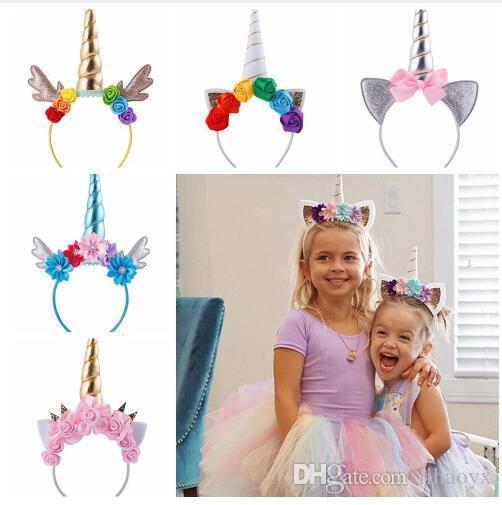Hot 19 Style Sale Kids Colorful Unicorn Horn Hairband Chiffon Unicorn Headband Glitter Hairband Easter Bonus for Party Gift Hair Gifts
