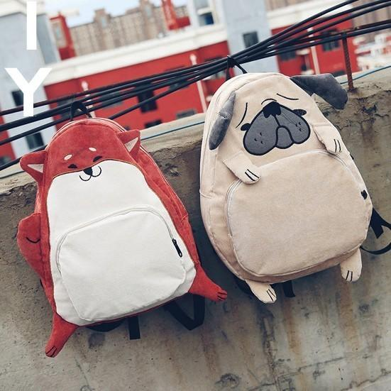 New Creative Personality Designer Dog Fox Bookbags For Girls Cute Cartoon Schoolbags Casual Woman Backpack