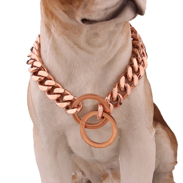 Betty 15mm 12~30 inch Rose Gold Tone Double Curb Cuban Pet Link Stainless Steel Dog Chain Collar Pet Necklaces