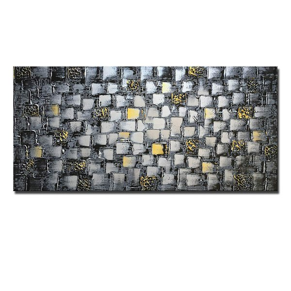 Large Thick Abstract Dark Silver add Golden Square Wall Art Hand Painted Artwork Textured Oil Painting on Canvas For Home Decoration