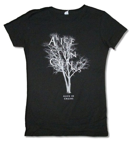 Alice In Chains Letter Tree Tour 2015 Juniors Ladies Black T Shirt New Official Mens T-Shirt Summer O Neck Cotton Men New High Quality
