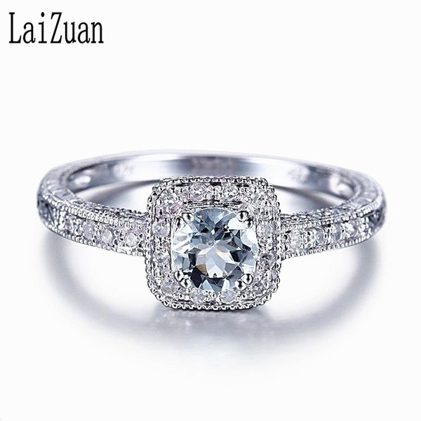 Laizuan Solid 18k (au750) White Gold 0.41ct Natural Liaghtest Blue Aquamarine Diamond Engagement Ring Women Vintage Fine Jewelry S625