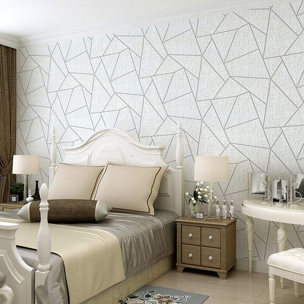 Hochwertige Schwarz Grau Weiß Geometrische Linien Tapete 3d Beflockung für Wohnzimmer Wohnkultur Weiß Vliestapete