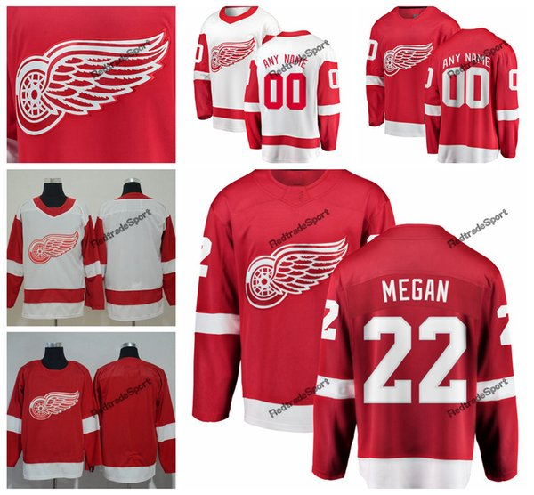 2019 Detroit Red Wings Wade Megan Hockey Trikots Mens Custom Name Startseite Red # 22 Wade Megan genähte Hockey-Shirts S-XXXL