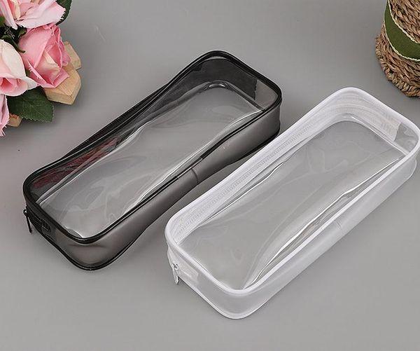 PVC Pencil Bag Zipper Pouch School Students Clear Transparent Waterproof Plastic PVC Storage Box Pen Case Mini Travel Makeup Bags SN2881