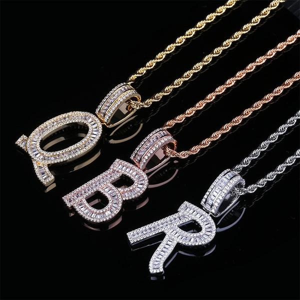 Customized 26 englische Buchstaben-Anhänger-Halskette Gepflasterte Zirkon-Platz Brief Halskette Hiphop Schmuck Accessoires für Verliebte