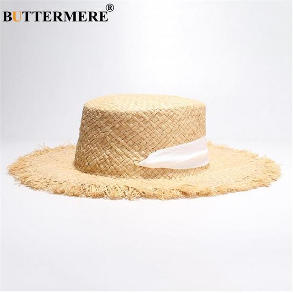 BUTTERMERE Marca Mujeres Boater Rafia Paja Sombrero para el Sol Señoras  Primavera Verano Amplio Moda Casual con cordones Playa de las mujeres Gorra  plana ... cef1a7ec382
