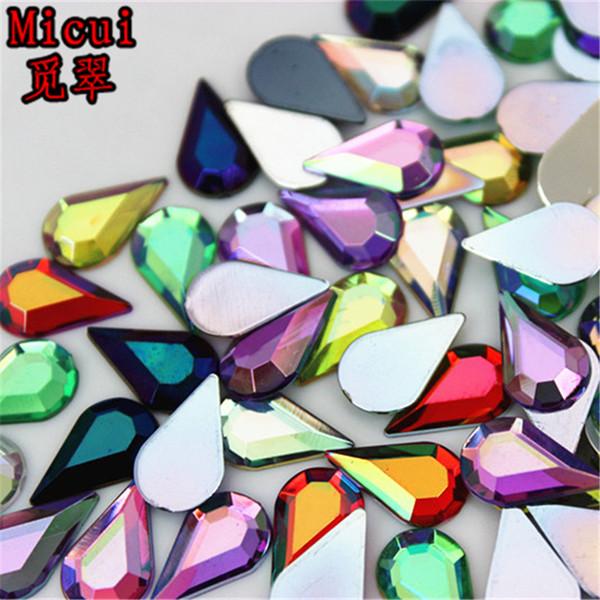 Micui 200pcs 8*13mm Taiwan High Quality Acrylic rhinestone flatback Tear Drop acrylics rhinestones for DIY decoration ZZ450