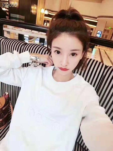 Damen-Marken-Design, plus langes Sweatshirt aus Samt-Rosa-Weiß-Schwarz-Stickerei g warm und stilvoll. Größe M L