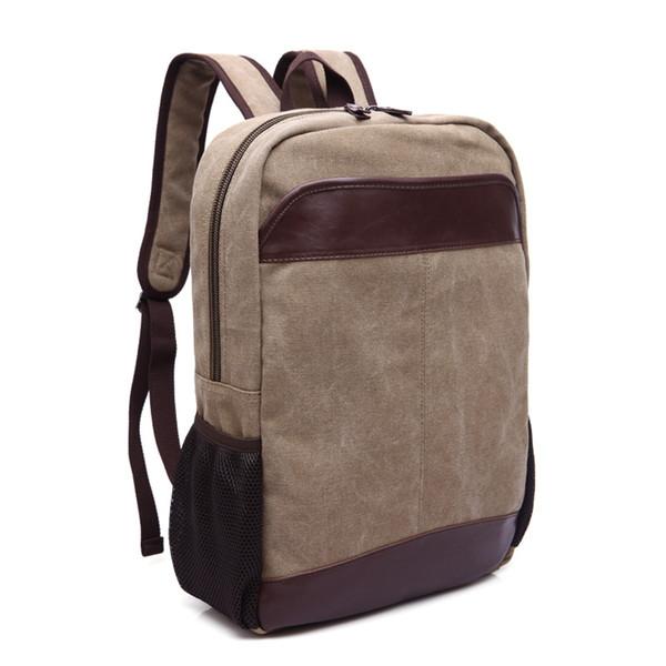 Männer Leinwand Rucksack Große Kapazität Laptop Rucksack Männlichen Reisegepäck Rucksack Adrette Leder Schultaschen Für Teenager Jungen