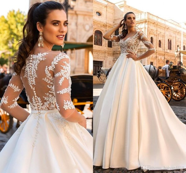 New Wedding Dresses Sheer Neckline Lace Appliques Half Sleeves Illusion Back With Button Satin Chapel Train Plus Size Bridal Gowns