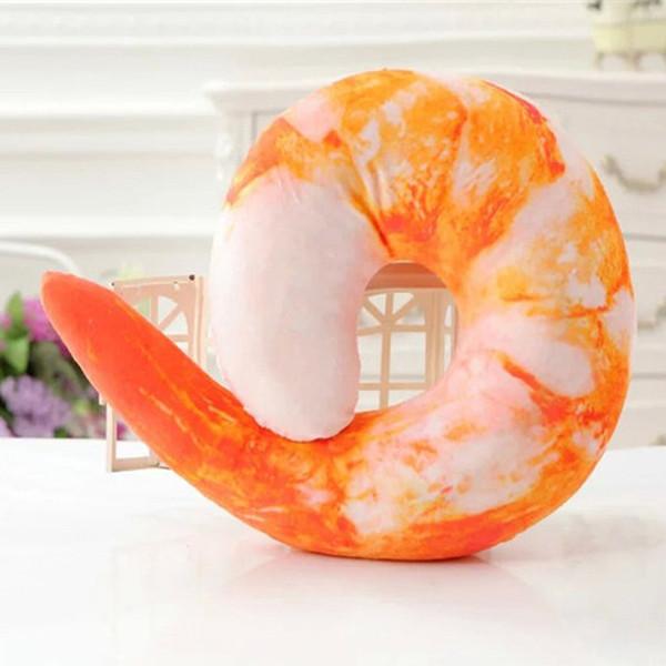 3D Camarão U forma Criativo Throw Pillow Plush Neck Coxim Macio Conforto 4 Estilos