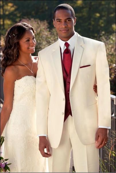 Custom Made Slim Fit Due pulsanti smoking dello sposo Avorio uomo migliore del risvolto della tacca Groomsman Uomini Wedding Suits sposo (Jacket + Pants + Tie + Vest) J386