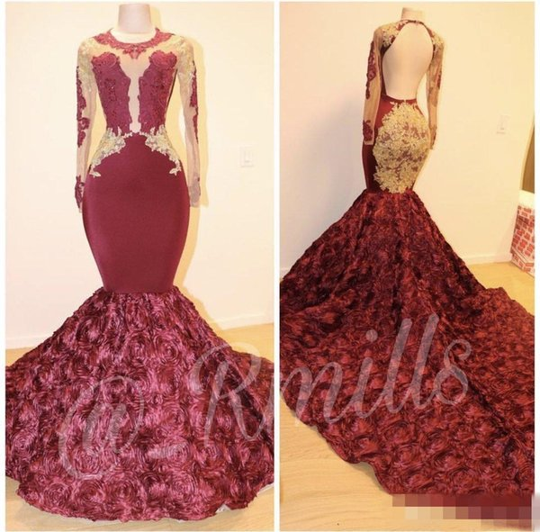 Burgundy Jewel Neck Mermaid Prom Dresses 2019 Long Sleeves See Through With Gold Lace Formal Celebrity Gown 3D Flower Plus Size Party Dress