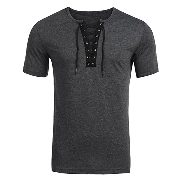 CALOFE Brand New Criss Cross T-shirt Men Boy Summer Short Sleeve Lace Up Tee&Tops Male Casual Holiday V-neck Clothing
