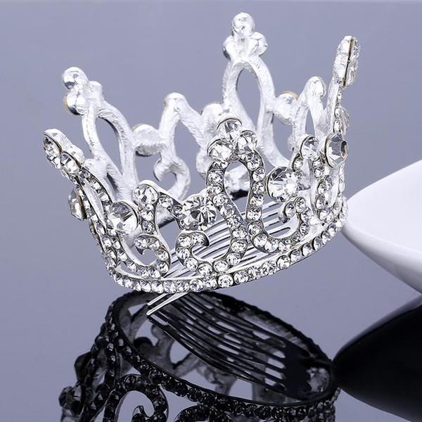 Neue Ankunft Vollkreis Crown Haar Kamm Tiara Kristall Strass Diadem Diademe Und Kronen Blumenmädchen Haarschmuck Prom Pageant Zubehör