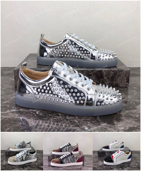 Wholesale Fashion Mens Womens Designer Causal Shoes Low Top Red Bottom Sneakers For Men Luxury Black Leather Spikes Shoes Chaussures