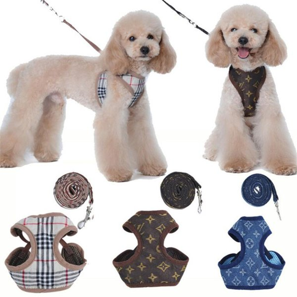 Fashion Plaid Pattern Pets Harnesses Outdoor Breathable Cloth Design Pet Harness Schnauzer Personality Charm Brand Leashes Sets